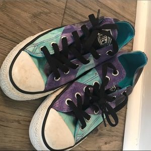Blue & Purple Converse Low Top Chucks